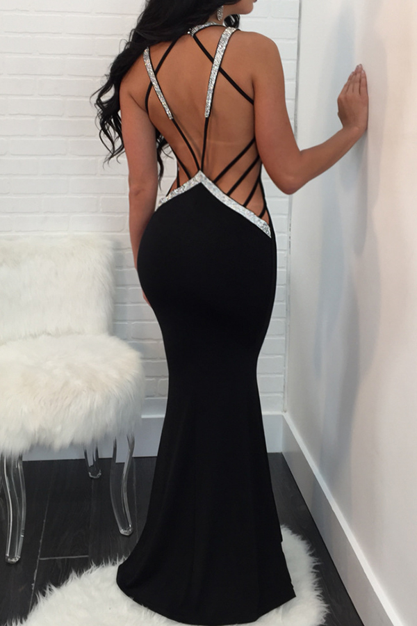 Sexy V Neck Lace-up Hollow-out Black Polyester Floor length Dress