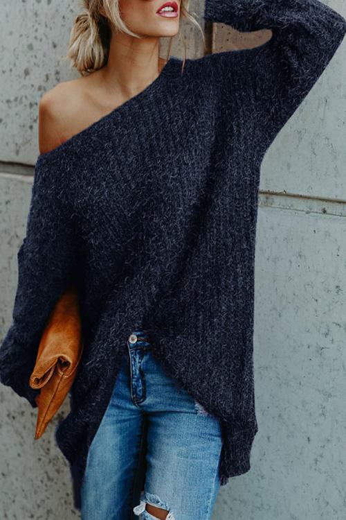 Lovely Stylish Round Neck Long Sleeves Blue Velvet Sweaters