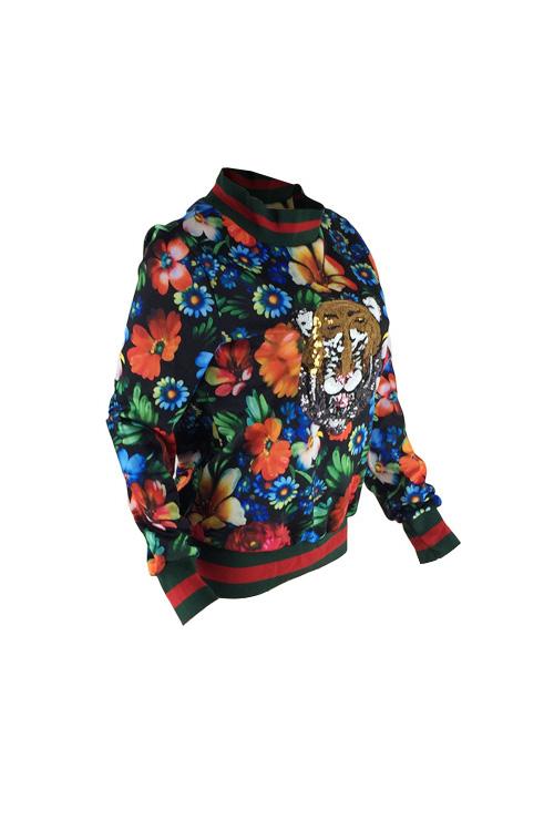 Ocio Jersey De Poliéster Estampado Floral Redondo