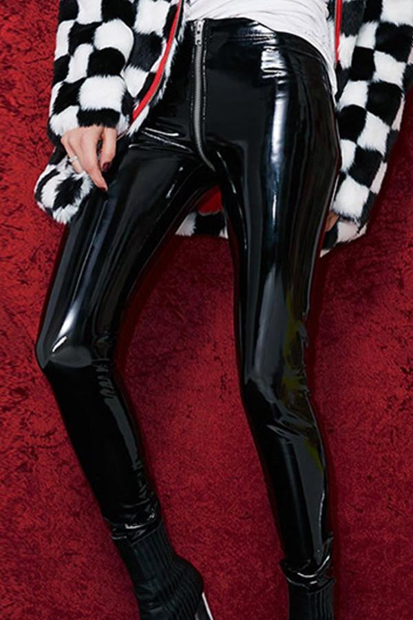 Euramerican High Waist Zipper Design Black Leather Pants(Without Accessories)