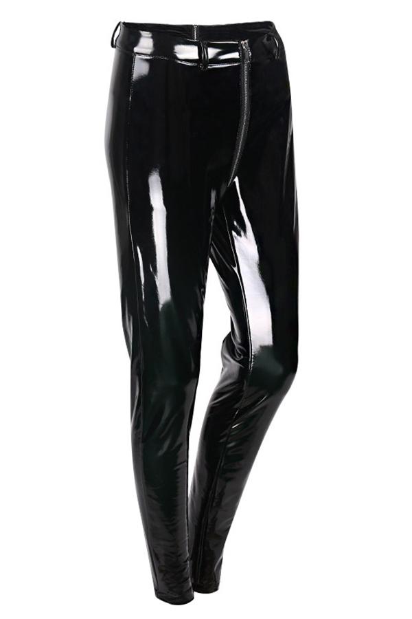 Euramerican High Waist Zipper Design Calças De Couro Preto (sem Acessórios)