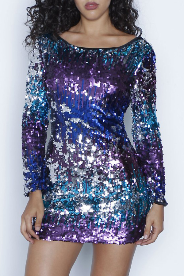 Sexy Boat Neck Backless Gradient Sequins Polyester Mini Dress Dresses <br><br>