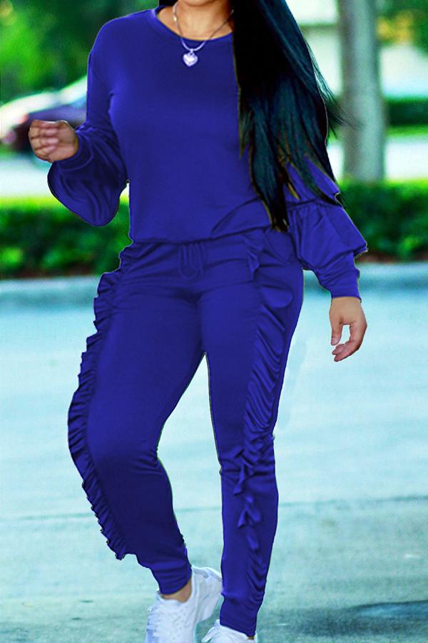 Modische Rundhalsausschnitt Geraffte Blaue Mischung Zweiteilige Hose Gesetzt