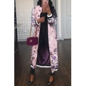 Euramerican Round Neck Printed Pink Polyester Trench Coats
