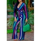 Euramerican Deep V Neck Striped Green Polyester One-piece Jumpsuits