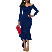 Sexy Bateau Neck Dovetail Shape Design Blue Polyester Ankle Length Dress