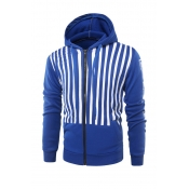 Fashionable Hooded Collar Striped Blue Cotton Blen