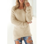 Lovely Fashionable Round Neck Long Sleeves Apricot