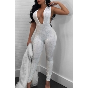 Sexy Deep V Neck Sequined Decorative White Polyester One-piece Jumpsuits