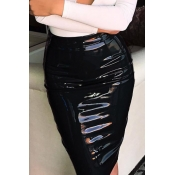 Euramerican High Waist Black Leather Knee Length S