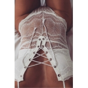 Sexy Lace-up See-Through White Lace One-piece Jumpsuits