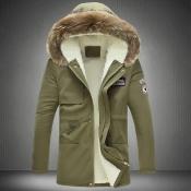 Stylish Hooded Collar Zipper Design Army Green Cot