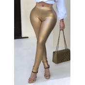 Euramerican High Elastic Waist Gold Leather Pants