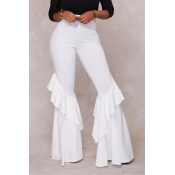 LovelyEuramerican High Waist Falbala Design White Qmilch Pants