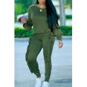 Fashionable Round Neck Ruched Green Blending Two-piece Pants Set