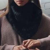 Fashionable Fur Design Black Wool Scarves