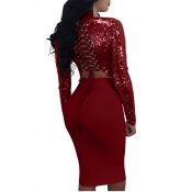 Sexy Mandarin Collar Lace-up Hollow-out Wine Red Polyester Two-piece Skirt Set(Double Side Wear)
