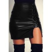 Euramerican High Waist Lace-up Black Leather Sheat