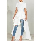 Stylischer Stehkragen Asymmetrischer Falbala Design Weißer Polyester Mittleres Wadenkleid