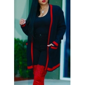 Euramerican Long Sleeves Striped Black Polyester Long Cardigans