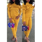 Casual Round Neck Pleated Design Yellow Cotton Two
