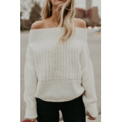 Lovely Trendy Bateau Neck Long Sleeves White Acryl