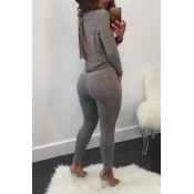 Sexy Deep V Neck Back Hollow-out Grey Polyester One-piece Jumpsuits