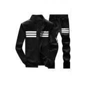 Leisure V Neck Long Sleeves Zipper Design Black Polyester Two-piece Pants Set