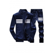 Leisure V Neck Long Sleeves Zipper Design Dark Blue Polyester Two-piece Pants Set