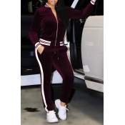 Red Velvet Pants Plain Mandarin Collar Long Sleeve Casual Two Pieces