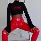 Euramerican Hohe Taille Reißverschluss Design Rote Lederhose