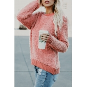 Lovely Euramerican Round Neck Long Sleeves Pink Po