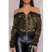 Sexy Bateau Neck Sequins Decoration Gold Polyester Short Coat