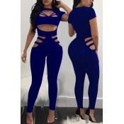 Sexy Round Neck Hollow-out Blue Polyester One-piece Jumpsuits