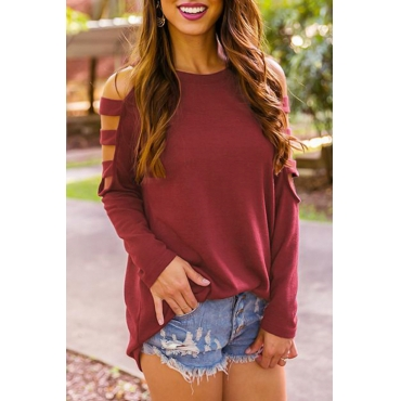 Lovely Trendy Round Neck Hollow-out Red Polyester T-shirt