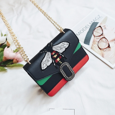 Stylish Embroidery Decorative Black PU Crossbody Bag