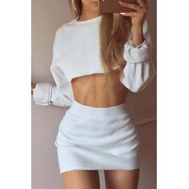 Sexy Round Neck Long Sleeves White Cotton Two-piece Skirt Set
