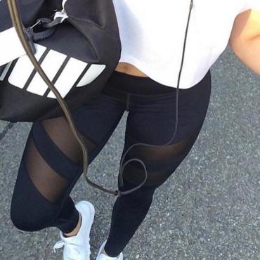 Trendy High Waist See-Through Black Polyester Leggings