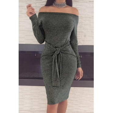 Casual Dew Shoulder Lace-up Dark Grey Polyester Sheath Knee Length Dress