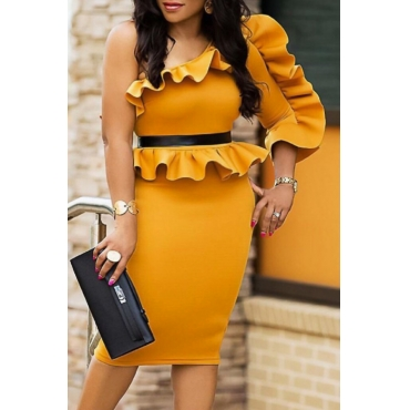 Sexy Skew Collar Stereo Lace Yellow Cotton Blend Knee Length Dress