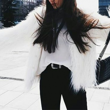 Fashionable Round Neck Long Sleeves White Faux Fur Coat