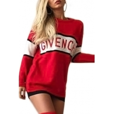 Casual Round Neck Letter Patchwork Red Cotton Blend Mini Dress