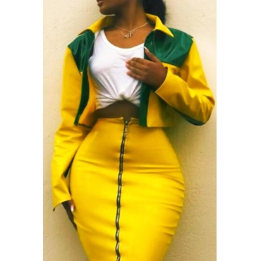 Yellow Not Specified Skirt Plain Turndown Collar Long Sleeve Fashion Two Pieces