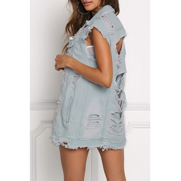 Trendy Turndown Collar Back Ripped Baby Blue Denim Vests