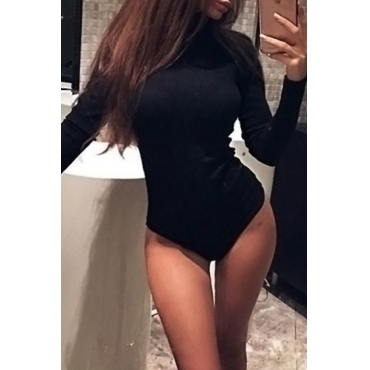 Sexy Turtleneck Long Sleeves Black Nylon One-piece Jumpsuits