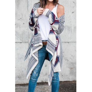 Lovely Euramerican Long Sleeves Geometric Pattern Printed Cotton Blends Cardigans