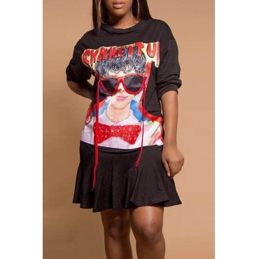 Leisure Round Neck Printed Black Polyester Knee Length Dress