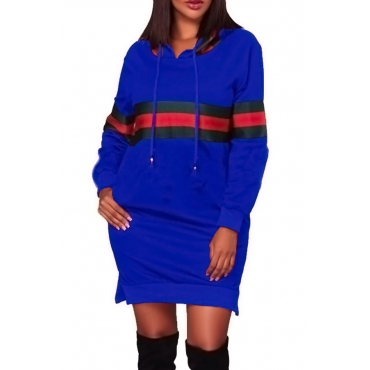 Leisure Hooded Collar Patchwork Blue Polyester Mini Dress
