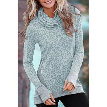 Lovely Euramerican Heaps Collar Panther Print Grey Cotton Blends Hoodies