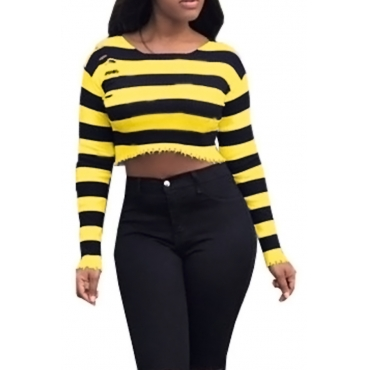 Sexy Round Neck Striped Yellow Polyester Brief Paragraph T-shirt